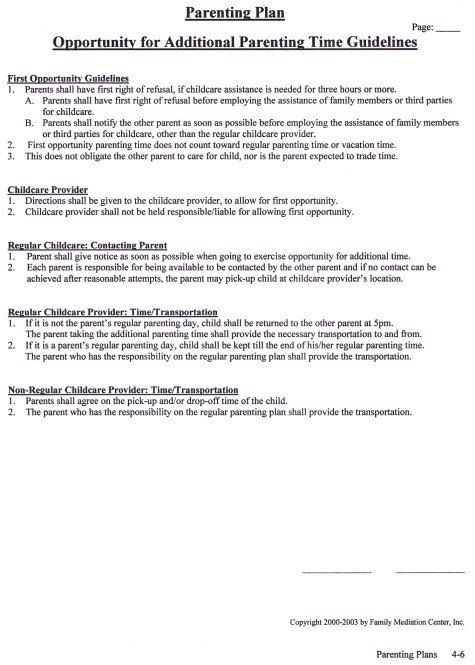 Opportunity for Additional Parenting Time Guidelines