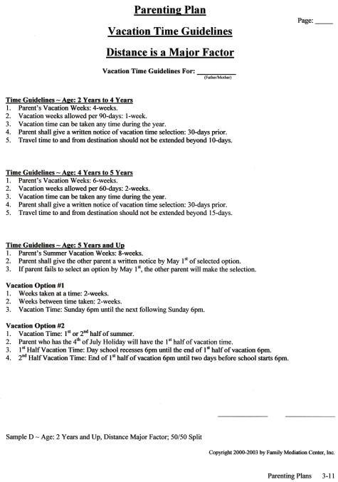 Detailed Parenting Plan Arrangements