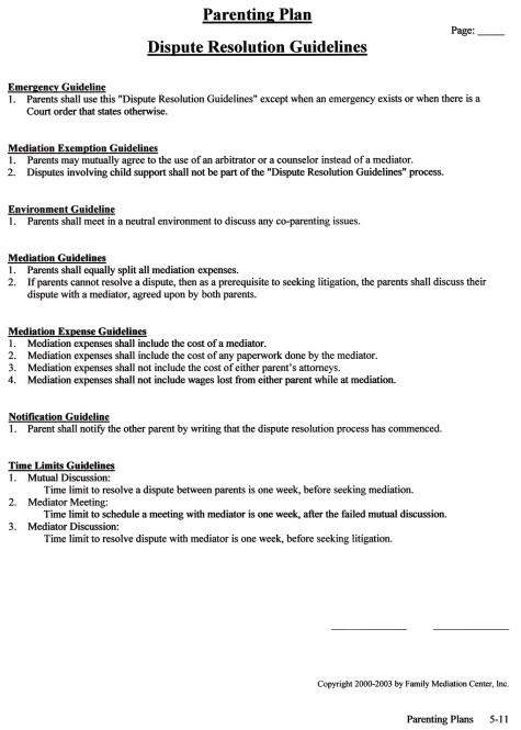 Dispute Resolution Guidelines
